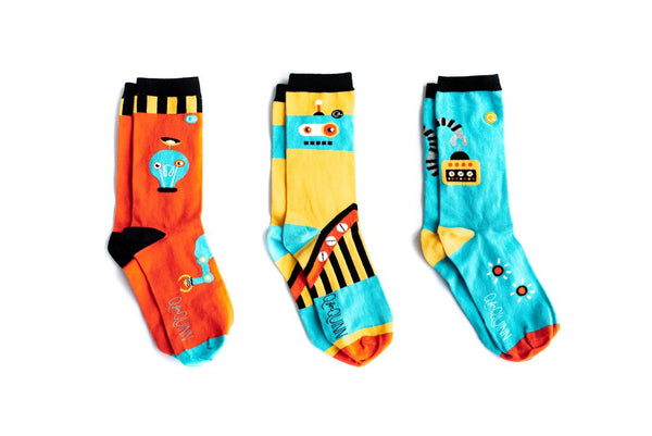 Robot Socks for adult. Three pairs that can be mismatched. Funky and fun designs. Made with organic cotton.