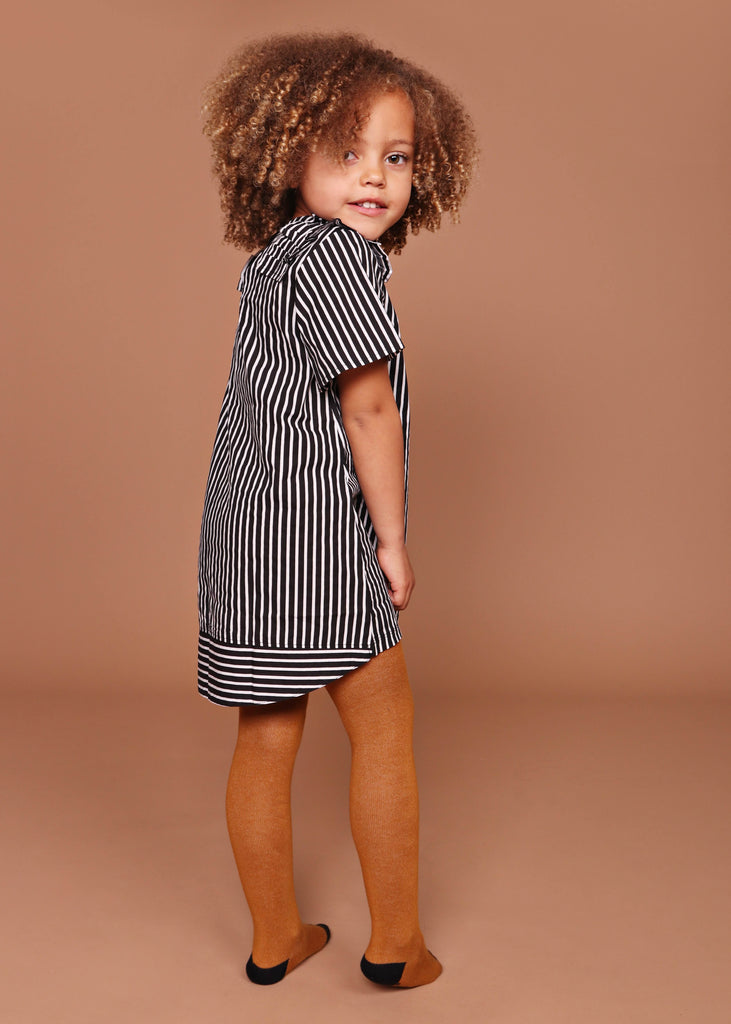 Ruffle Trim Dress- Stripe Woven