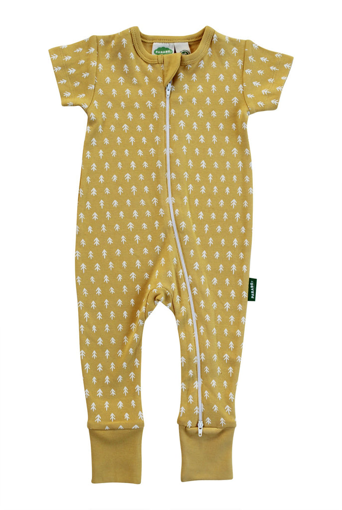 Two-Way Zip Romper Yellow Ferns