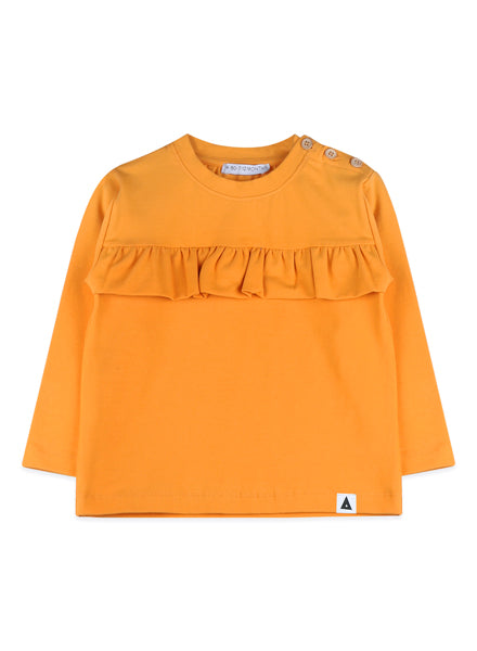 crewneck yellow top with ruffles.