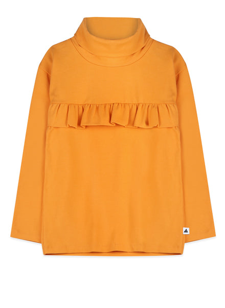turtle neck yellow top with ruffles and long sleeve