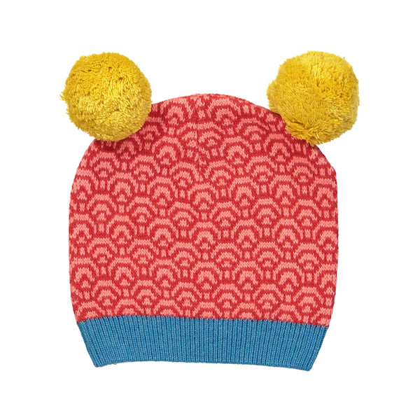 Cashmere-Wool Kids Knitted Hat/Coral (Origami paper)