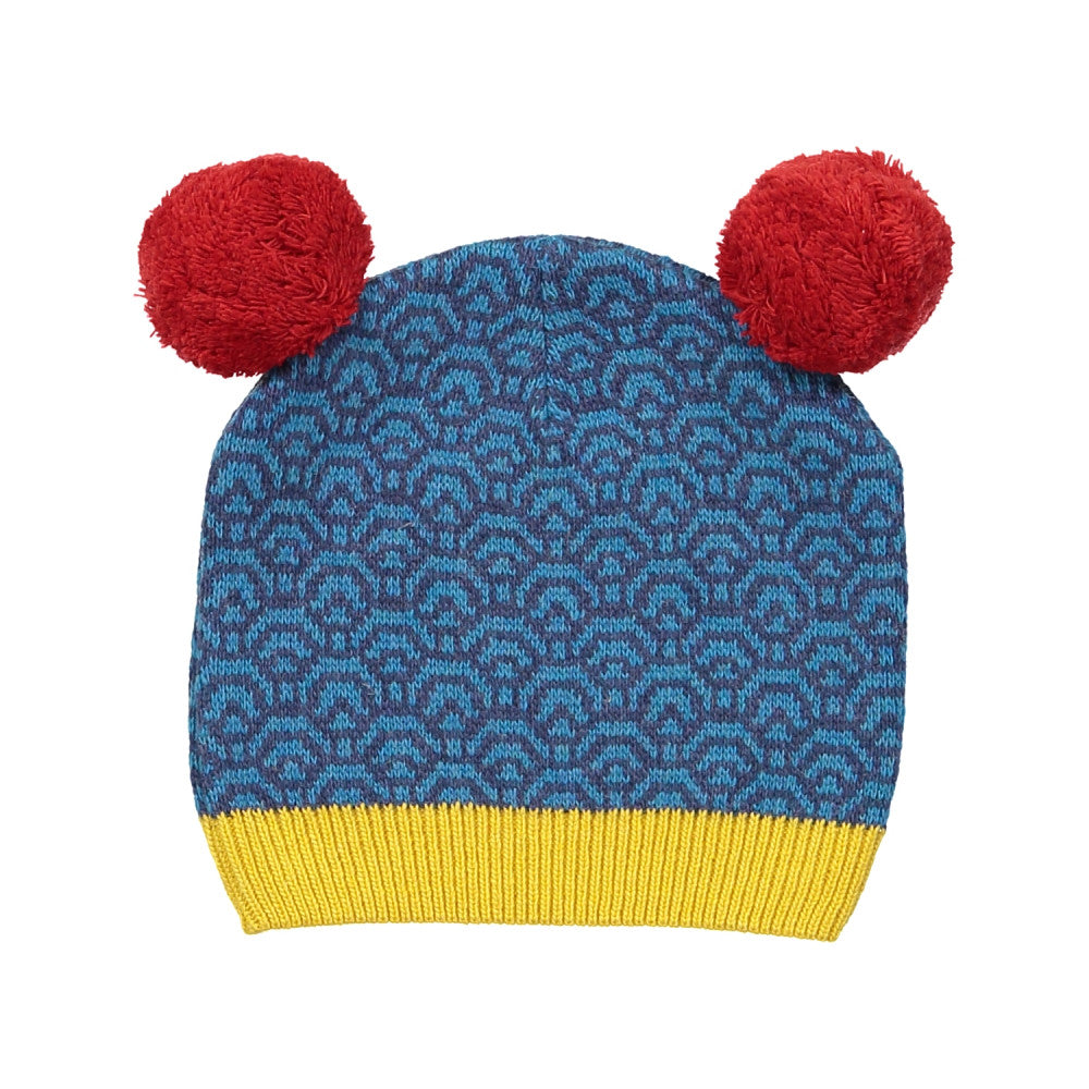 Cashmere/Wool Kids Knitted Hat/Indigo (Origami paper)