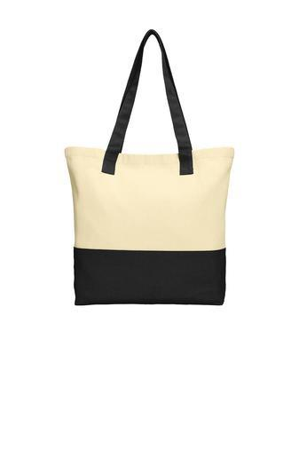 BAGANDTOTE CANVAS TOTE BAG BLACK Colorblock Cotton Canvas Tote Bag