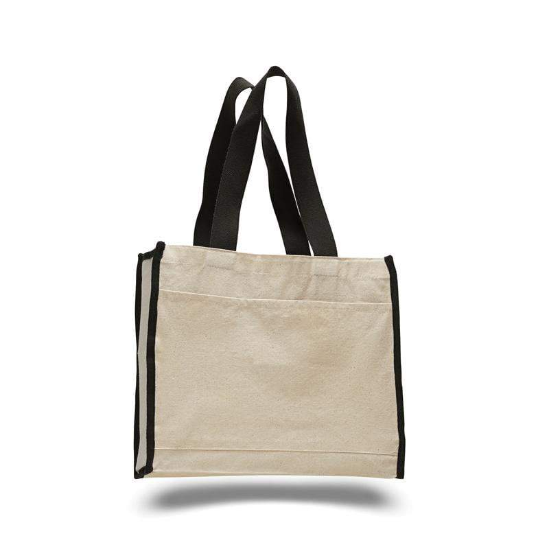 BAGANDTOTE CANVAS TOTE BAG BLACK CUSTOM HEAVY CANVAS TOTE BAG WITH COLORED TRIM