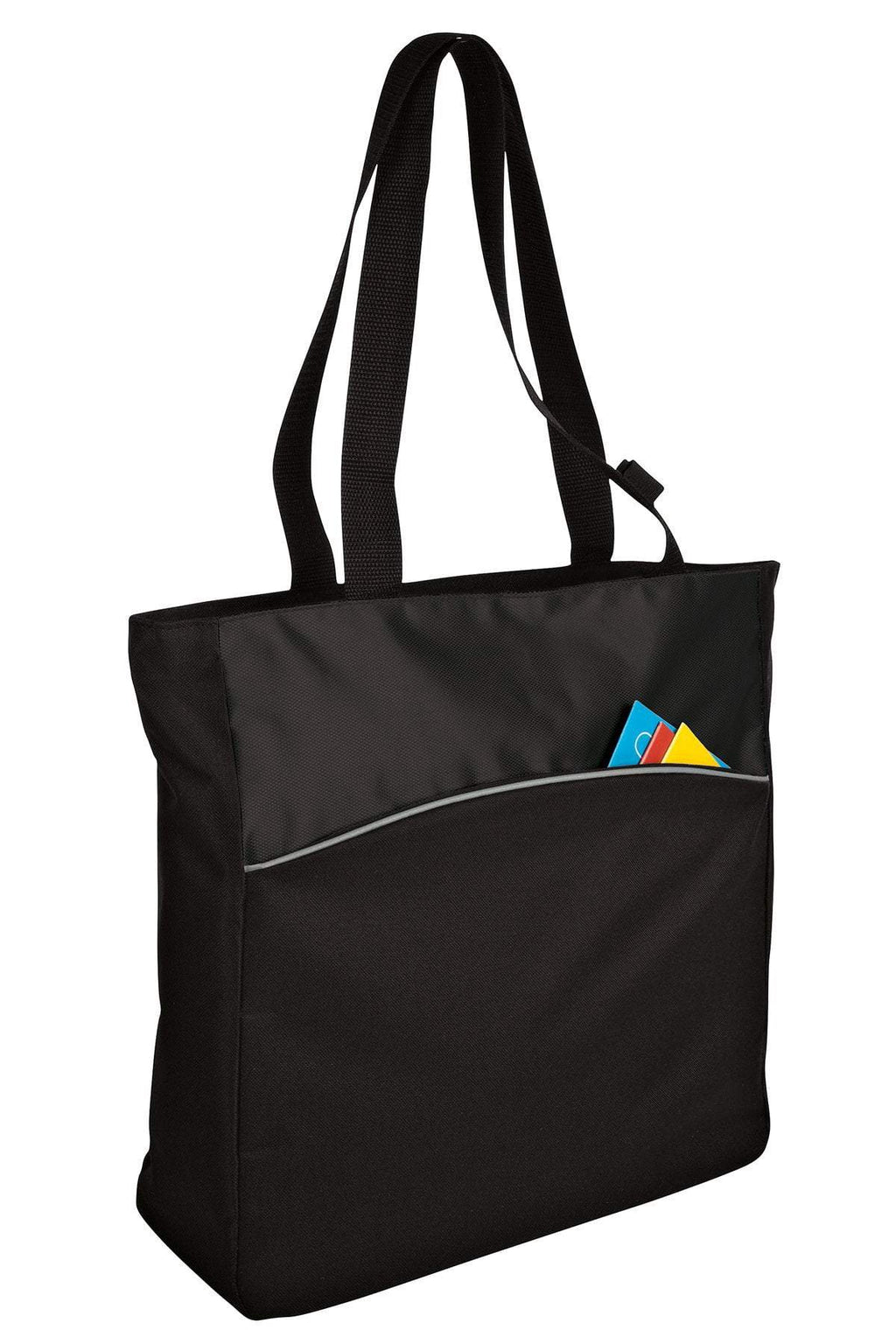 BAGANDTOTE Canvas Tote Bag BLACK Two-Tone Colorblock Polyester Canvas tote Bag