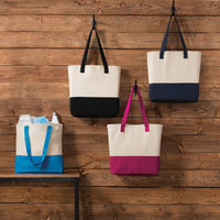 BAGANDTOTE CANVAS TOTE BAG Colorblock Cotton Canvas Tote Bag