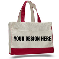 BAGANDTOTE CANVAS TOTE BAG CUSTOM COTTON CANVAS TOTE BAG WITH INSIDE ZIPPER POCKET