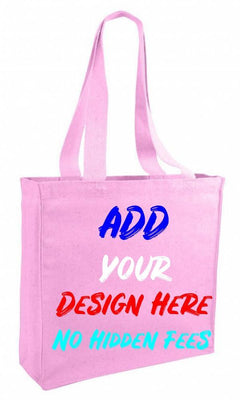 BAGANDTOTE CANVAS TOTE BAG LIGHT PINK CUSTOM CHEAP CANVAS TOTE BAG / BOOK BAG WITH GUSSET