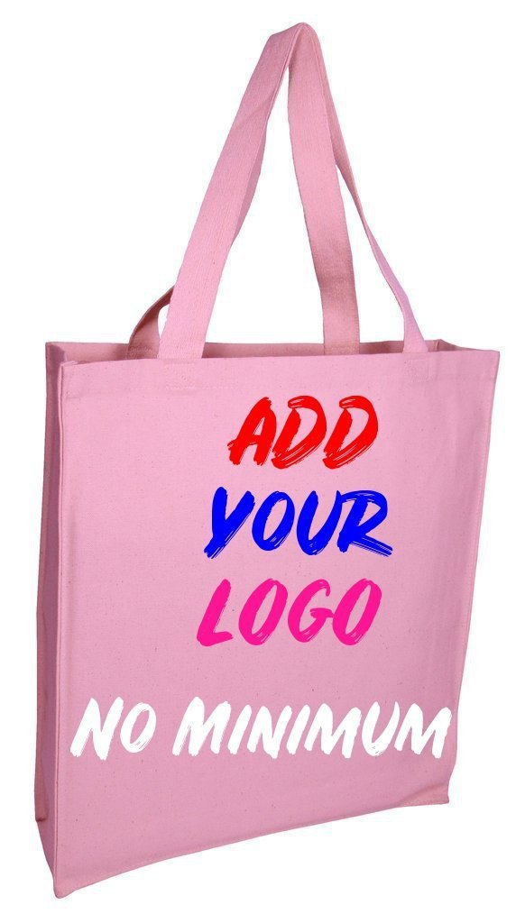 BAGANDTOTE CANVAS TOTE BAG LIGHT PINK CUSTOM HEAVY WHOLESALE CANVAS TOTE BAGS WITH FULL GUSSET