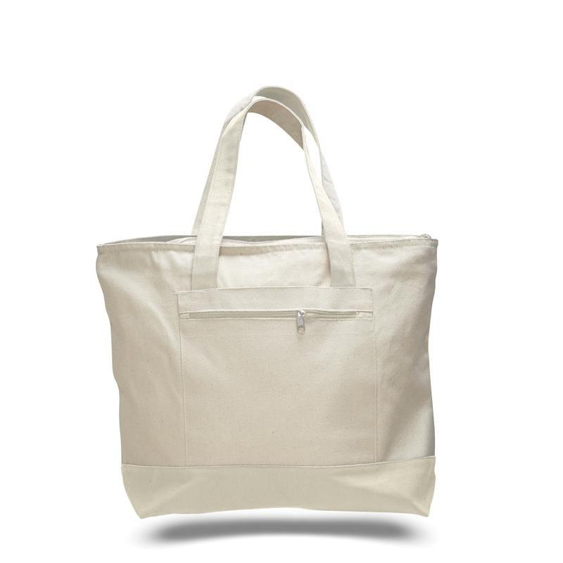 BAGANDTOTE CANVAS TOTE BAG NATURAL CUSTOM HEAVY CANVAS ZIPPERED SHOPPING TOTE BAGS