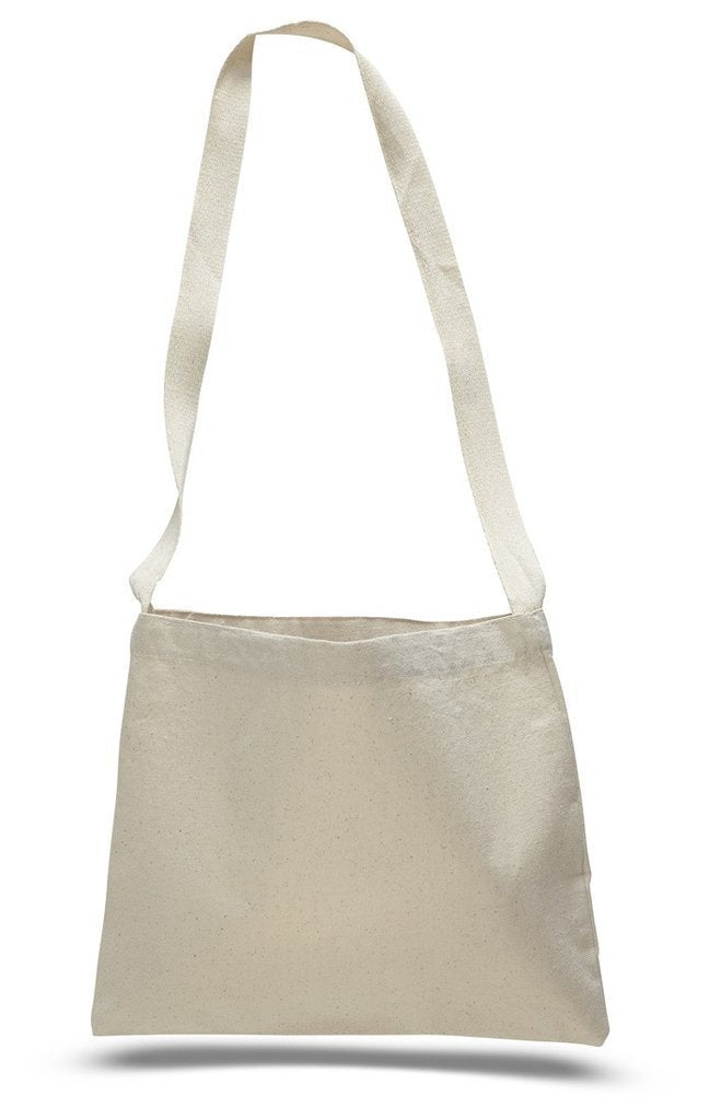BAGANDTOTE CANVAS TOTE BAG NATURAL Small Messenger Canvas Tote Bag with Long Straps