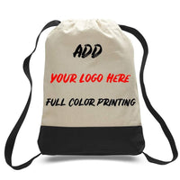 BAGANDTOTE CANVAS TOTE BAG PRINT ON TWO TONE CANVAS SPORT BACKPACKS