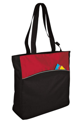BAGANDTOTE Canvas Tote Bag RED Two-Tone Colorblock Polyester Canvas tote Bag