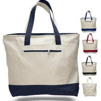 BAGANDTOTE CANVAS TOTE BAG SET OF 24 HEAVY CANVAS ZIPPERED SHOPPING TOTE BAGS