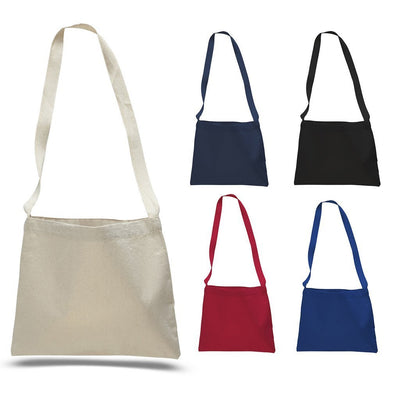 BAGANDTOTE CANVAS TOTE BAG Small Messenger Canvas Tote Bag with Long Straps