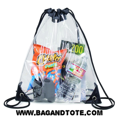 BAGANDTOTE.COM Clear Bag Clear Vinyl Drawstring Bag w/ Black Trim