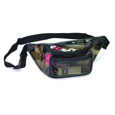 BAGANDTOTE.COM Clear Bag Transparent Black 3-Zippered Fanny Pack