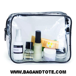 BAGANDTOTE.COM Clear Bags Clear Vinyl Travel Size Cosmetic Bag