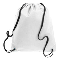 BAGANDTOTE.COM DRAWSTRING White Non-Woven Polypropylene Drawstring Backpack