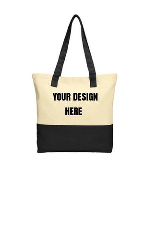 BAGANDTOTE COTTON TOTE BAG Colorblock Custom Cotton Tote Port Authority®
