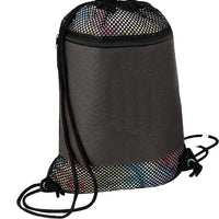 BAGANDTOTE DRAWSTRING BLACK Large Nylon Mesh Drawstring Bag