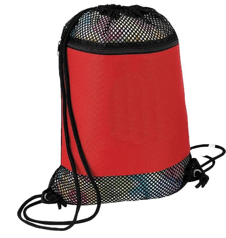 BAGANDTOTE DRAWSTRING RED Large Nylon Mesh Drawstring Bag