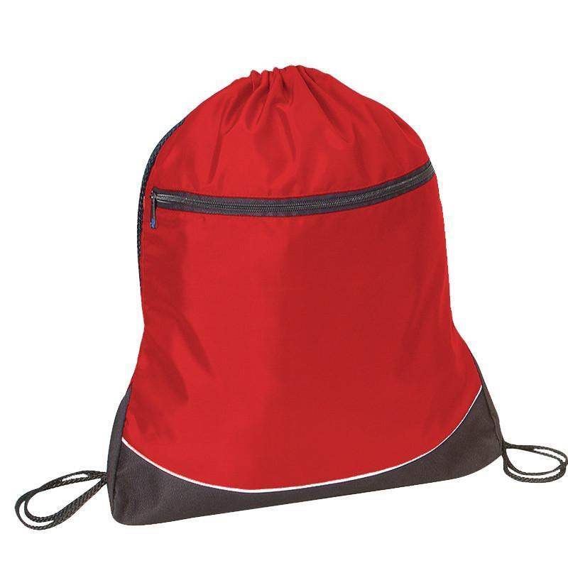BAGANDTOTE DRAWSTRING RED Stripe Nylon Drawstring Bag / Cinch Pack with Zipper Pocket.