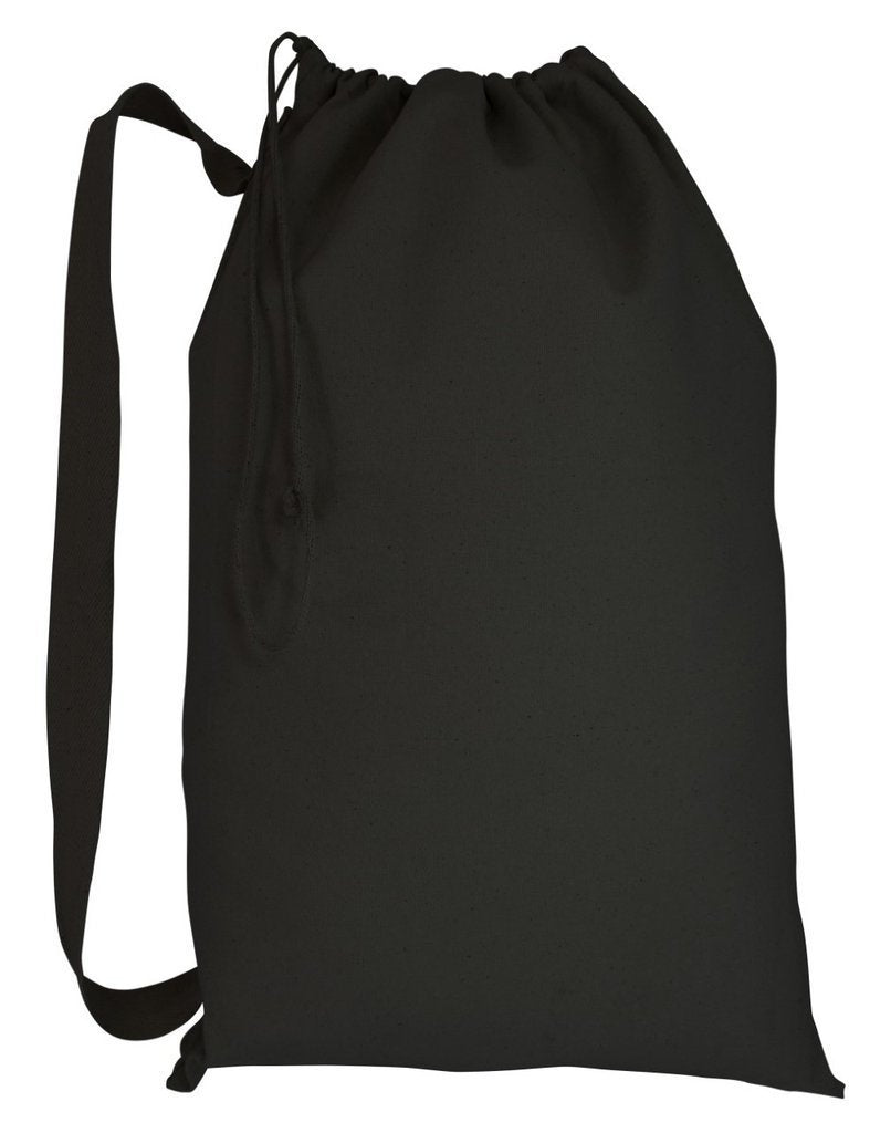 BAGANDTOTE DRAWSTRING SMALL / BLACK Wholesale Heavy Canvas Laundry Bags W/Shoulder Strap