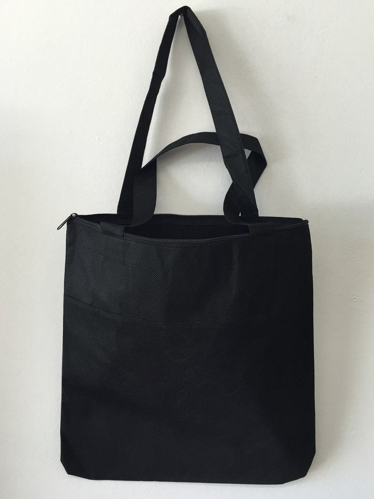 BAGANDTOTE POLY BLACK Cheap Non-Woven Tote Bag with Zipper Two-Tone