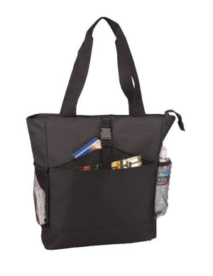 BAGANDTOTE Polyester BLACK CHEAP NON-WOVEN TOTE BAG WITH ZIPPER TWO-TONE