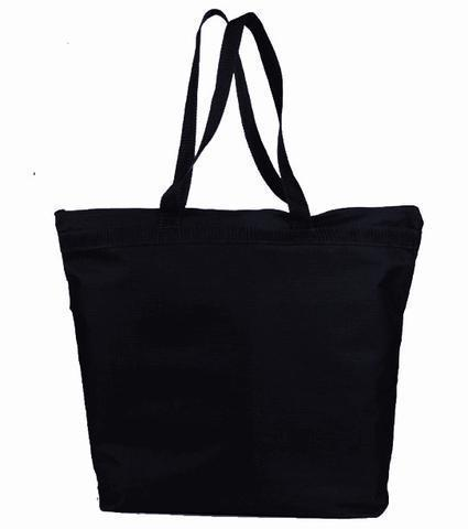 BAGANDTOTE Polyester BLACK Large Polyester Zippered Tote Bags
