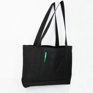 BAGANDTOTE Polyester BLACK Shopping Tote Bags Solid With PVC Backing