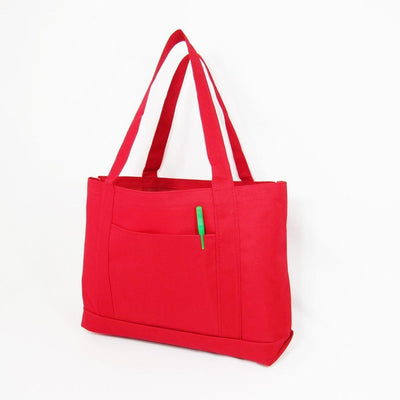 BAGANDTOTE Polyester RED Shopping Tote Bags Solid With PVC Backing