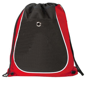 BAGANDTOTE Polyester RED Tri-Color Cool Drawstring Bag / Cinch Pack