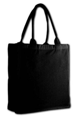 BAGANDTOTE TOTE BAG BLACK FANCY TOTE BAG 100% COTTON SHEETING FULL SIDE GUSSET