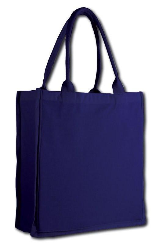 BAGANDTOTE TOTE BAG NAVY FANCY TOTE BAG 100% COTTON SHEETING FULL SIDE GUSSET