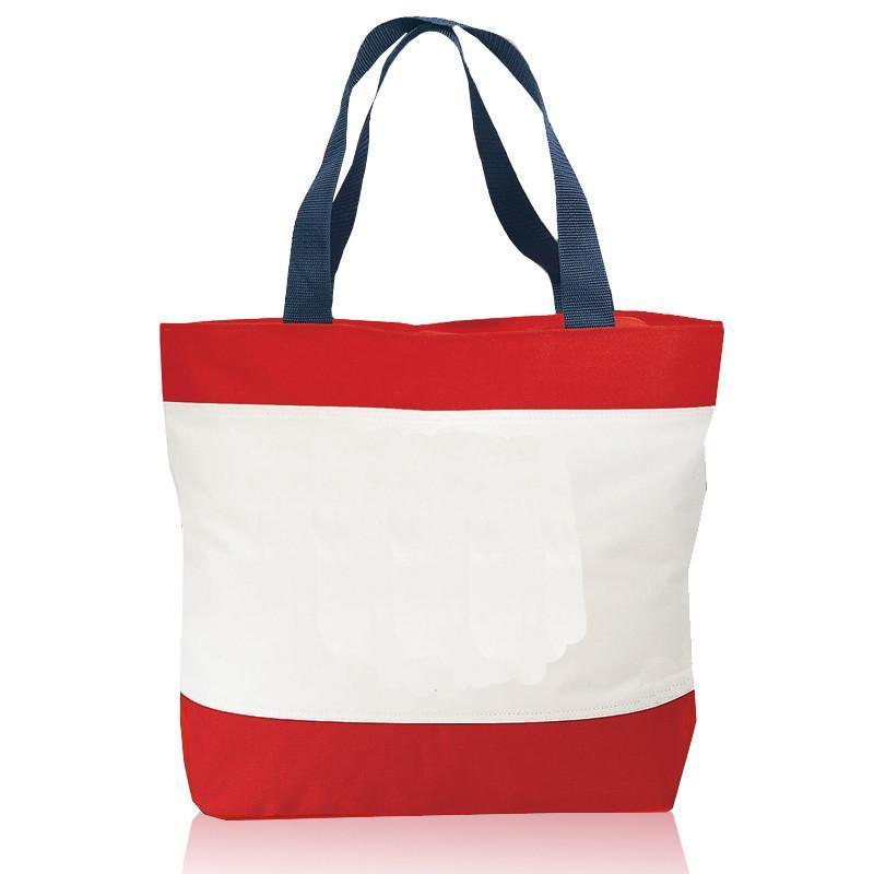 BAGANDTOTE TOTE BAG RED Tri-Color Deluxe Poly Zipper Beach Tote Bags