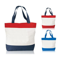 Tri-Color Deluxe Zipper Beach Tote Bags
