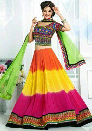 green and pink lehengas