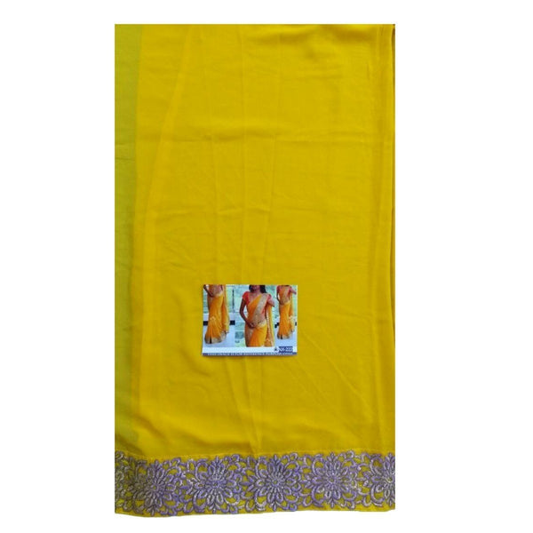 Georgette Lace Work Yellow Plain Saree