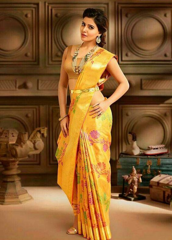 Georgette Multicolored Designer Bollywood Samantha Prabhu Saree with Blouse Material