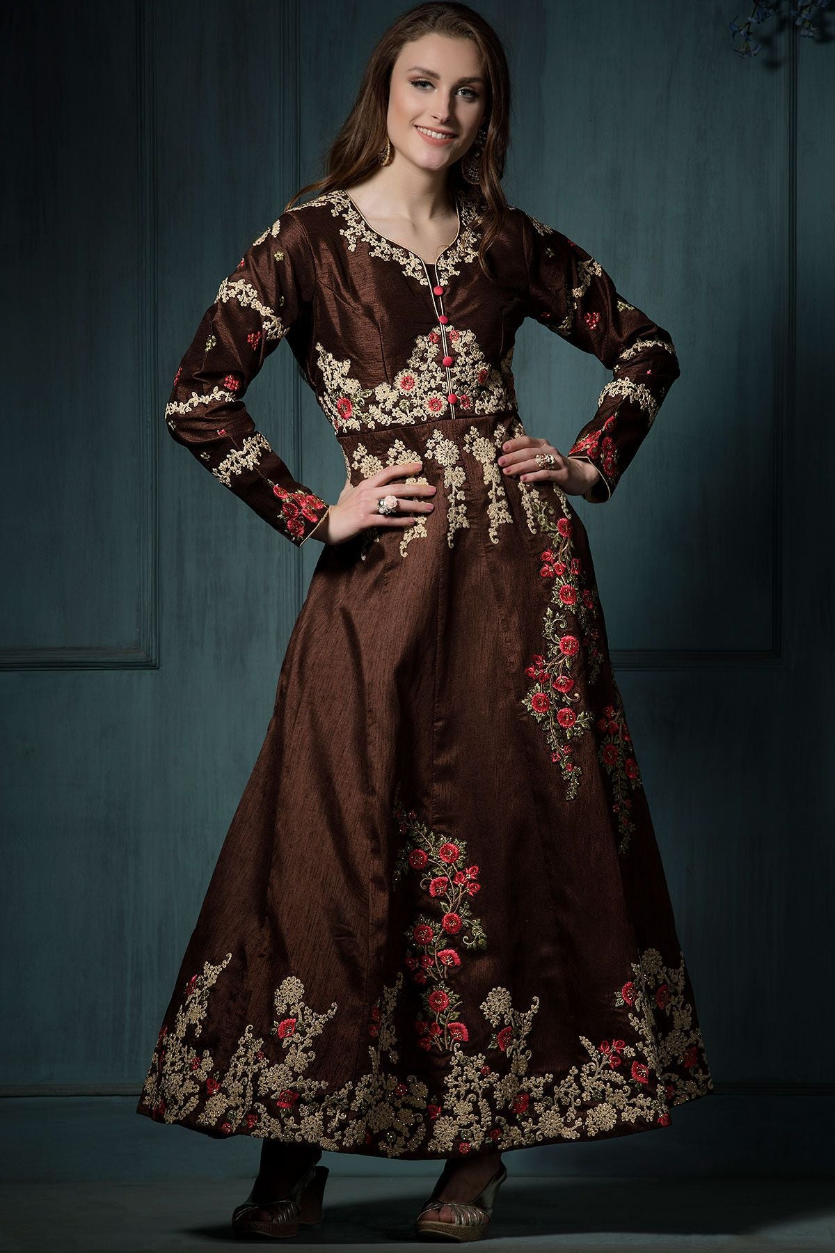 Designer Ethnic Wear Embroidered Pure Banglori Anarkali Gown With Dupatta