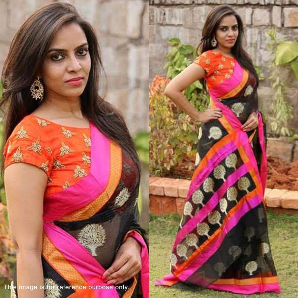 Black Banglori Silk Saree with Embroidered Blouse