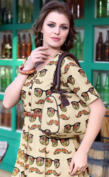 Beige Designer Printed Cotton Kurti With Purse