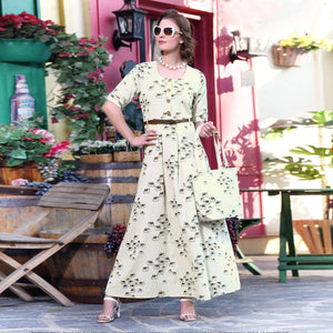 Attractive Off-White Designer Printed Cotton Kurti With Complimentary Purse