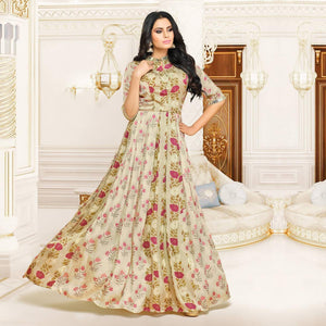 Elegant Beige Designer Partywear Embroidered Pure Maslin Silk And Satin Silk Gown