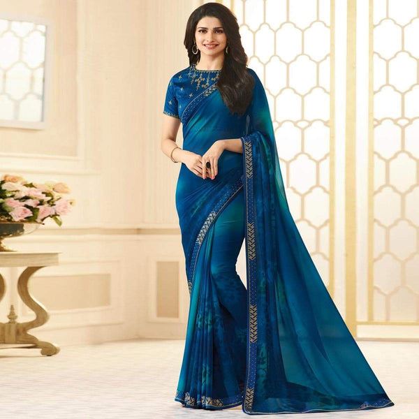 Blooming Blue Colored Designer Georgette Saree