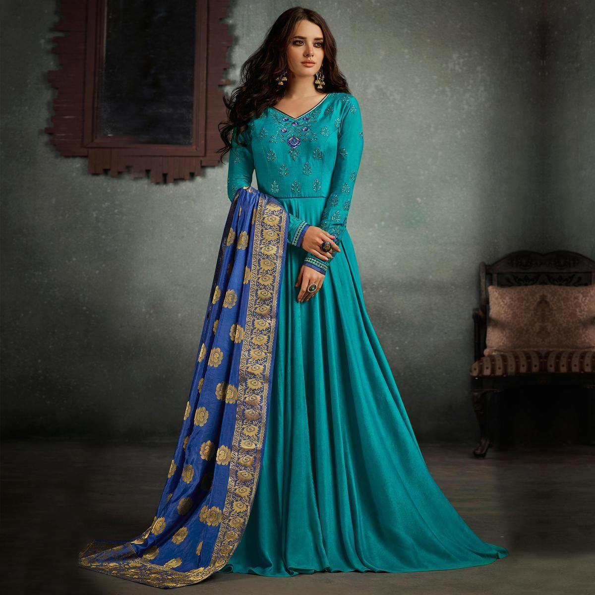 Attractive Blue Designer Embroidered Pure Rayon Anarkali Gown With Banarasi Silk Dupatta