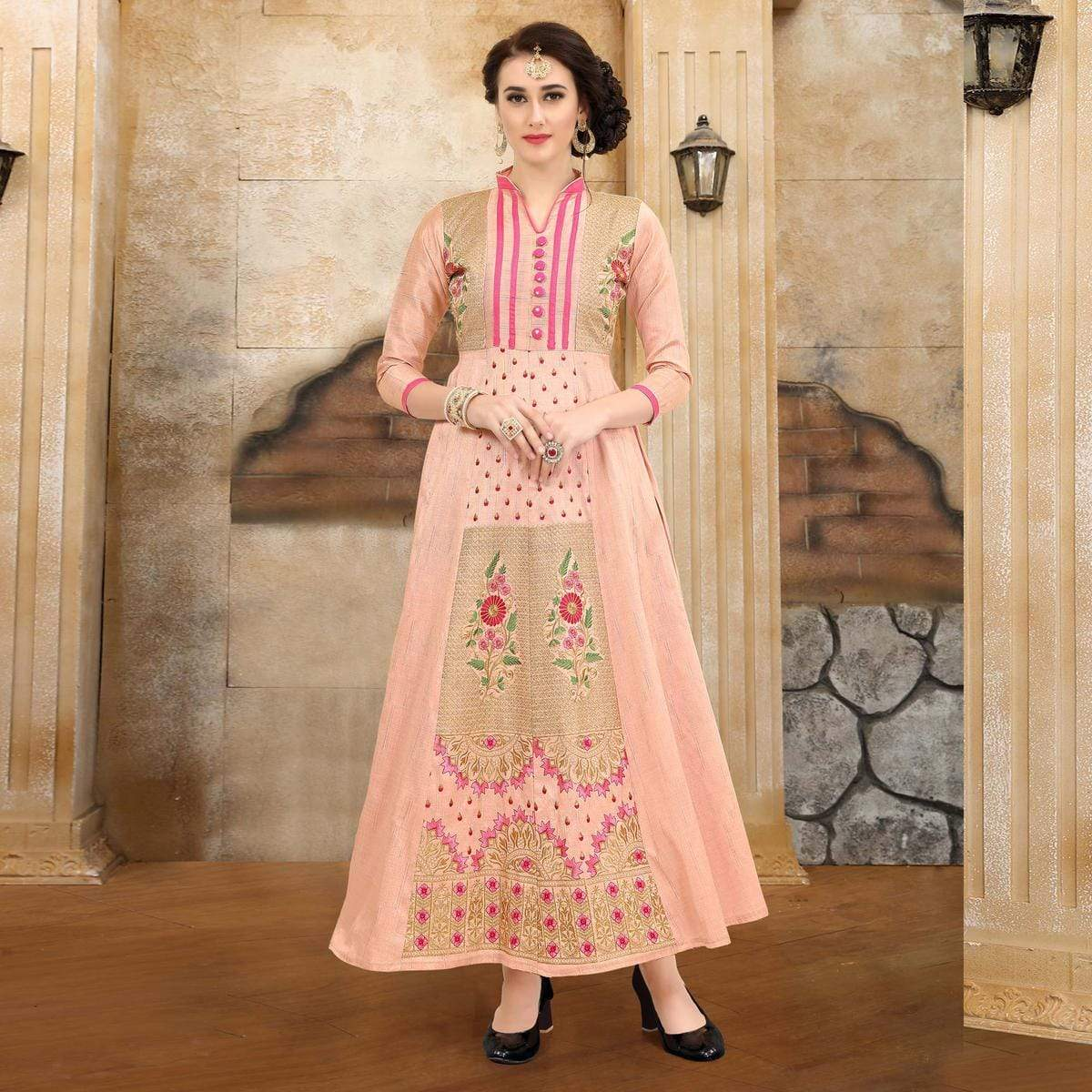 Baby Pink Colored Embroidered Partywear Art Silk Kurti